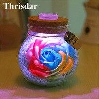 Thrisdar Novedad RGB LED Lámpara de Noche Romántica Rose Flor Deseo botella de Regalo Creativo Lámparas de Noche para Dama Chica de San Valentín día