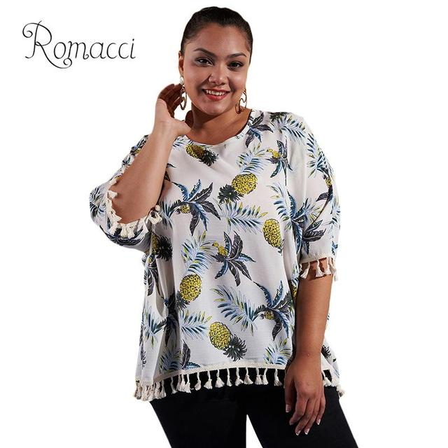 2018 Women Plus Size Blouse Shirt Blouse Pineapple Print Tassels Fringed Batwing  Sleeve Blouse Women Casual Loose Tee Tops White 8f0350089ade