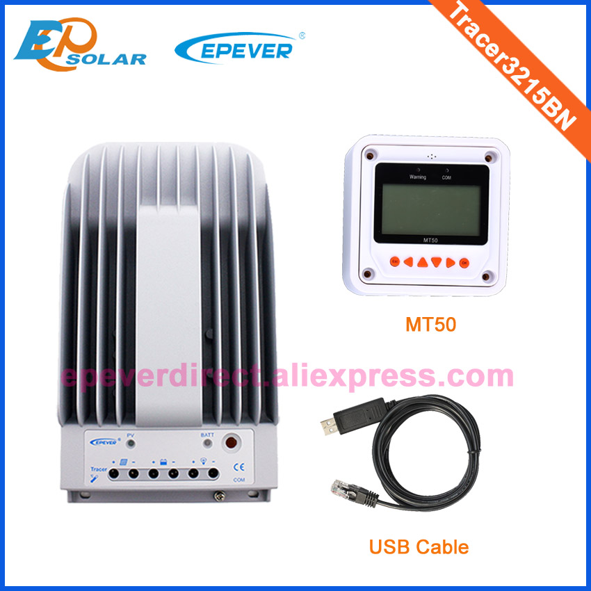 Controller 12v 24v auto work Tracer3215BN for solar panel system with USB communication cable and white MT50 meter 30A
