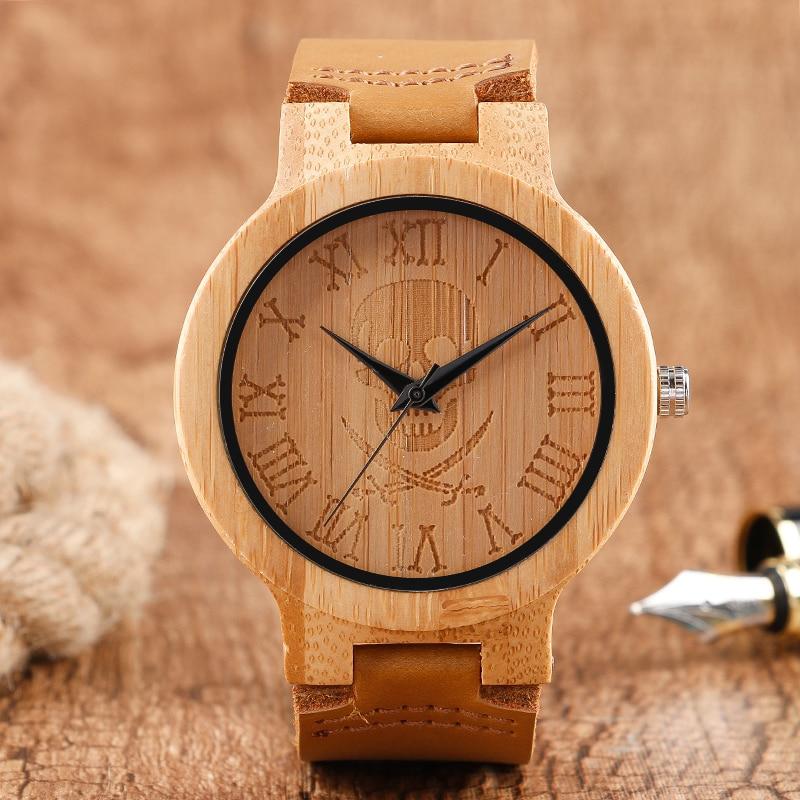 Мужская Прохладный Череп Роман Number Dial Дизайн Дерева Часы Моды Бамбука Деревянный Кварцевые Наручные Часы Кожаный Ремешок для Женщин