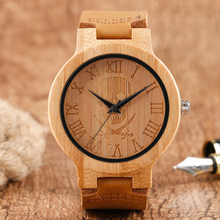 Men's Cool Skull Roman Number Dial Design Wood Watches Fashion Bamboo Wooden Quartz Wristwatch Genuine Leather Band for Women