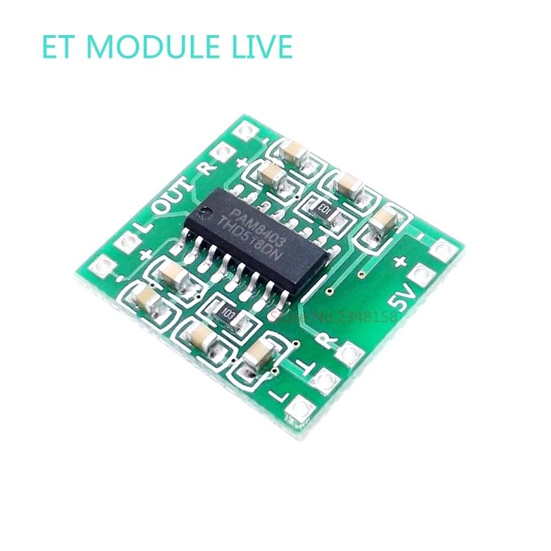 5pcs PAM8403 module Super Digital Amplifier Board 2 * 3W Class D Digital Amplifier Board Eficient 2.5 to 5V USB Power Supply