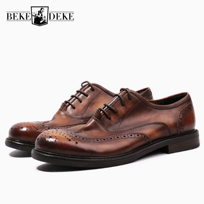 Vintage Handmade Mens Carved Oxfords Luxury Brand Retro 100 Real Leather Round Toe Male Casual Brogue