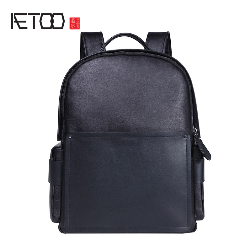 AETOO New men casual shoulder bag leather men bag trend backpack bag male large capacity travel computer bag