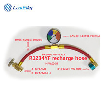 R1234YF recharge hose automotive air conditioning refrigerant detection tube fluoride supplement refrigerant pipe tool 1 / 2ACME transparent liquid and transparent tube refrigerant refrigerant pipe tube refrigerator transparent tube 1 meters particles