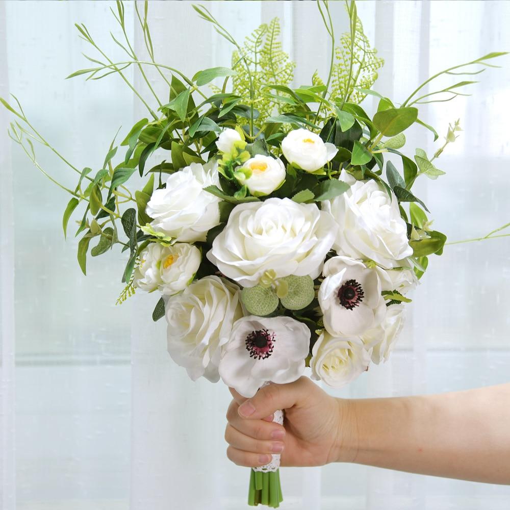 45 Cm Ivoire//Champagne Artificielle Rose Fleurs en Soie Floral Faux St-Valentin Mariage