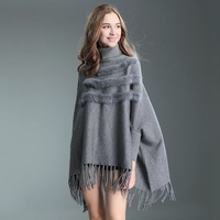 2018 new poncho feminino inverno femme poncho and capes coats with real rabbit fur and tassels high collar capa mujer invierno