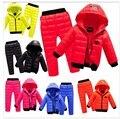 Conjuntos de Roupas de Bebê Meninos Meninas Roupas de inverno Crianças Com Capuz Jaqueta + Calça Impermeável Neve Quente criança Crianças Traje