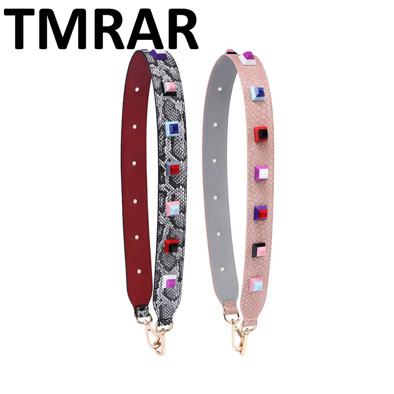 2018 New square studs leather belts panelled style design classic bag straps snake trendy shoulder straps for female qn077