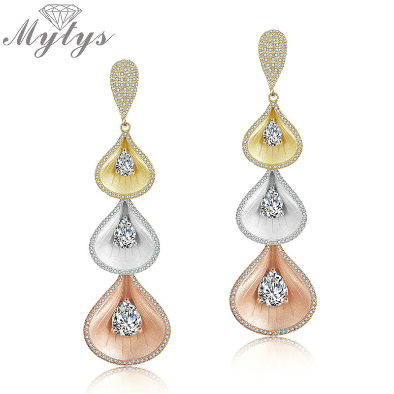 Mytys Three Tone Gold Color Dangle Earrings for Women Fashion Long Drop Earrings Frosted Gold Unique Design Pendientes CE492