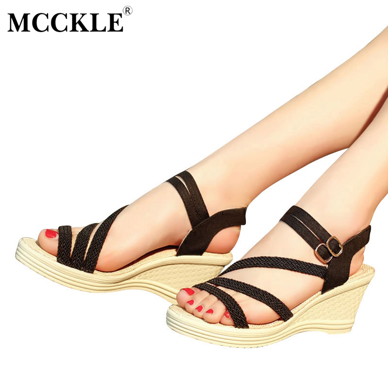 MCCKLE 2017 Fashion Women Shoes Woman Sandals Open Toe Wedges Ladies Office Platform Summer Casual Comfortable Plus Size 35-41 mcckle 2017 fashion woman shoes flat women platform round toe lace up ladies office black casual comfortable spring