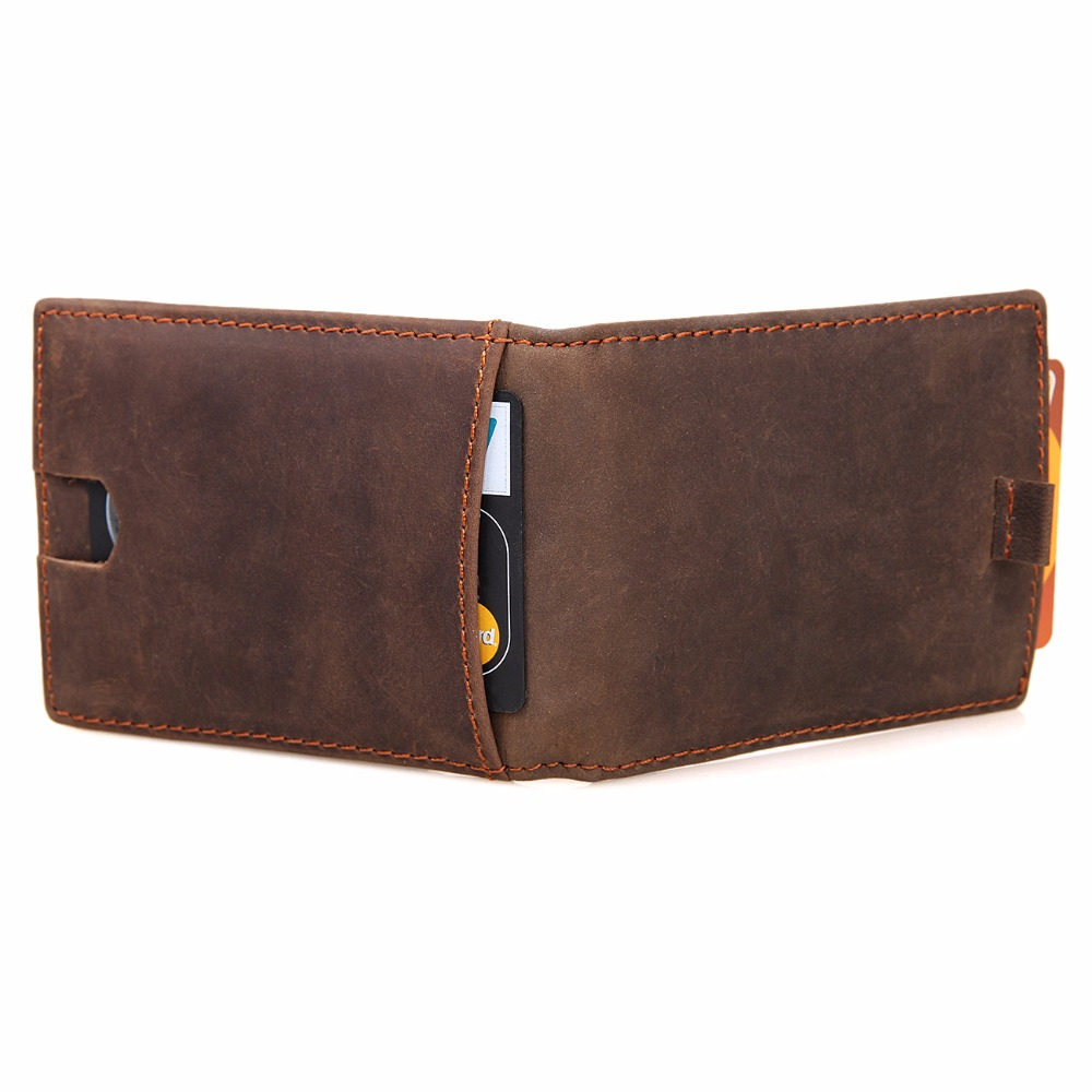 J M D 100 Genuine Crazy Horse Leather Men 39 s fashion Card Holder Dollars Cash Purse R 8143R in Card amp ID Holders from Luggage amp Bags