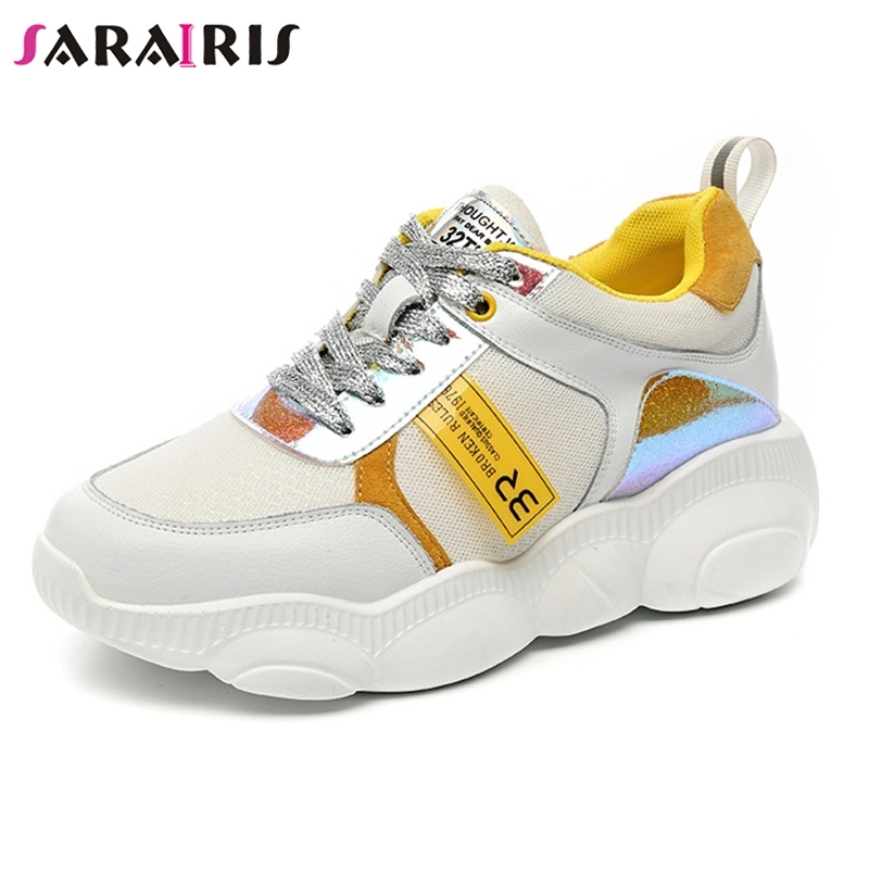 SARAIRIS 2019 New INS Hot Colored Women Genuine   Leather     Suede   Sneakers Spring Autumn Girl Fashion Tenis Women Shoes Woman