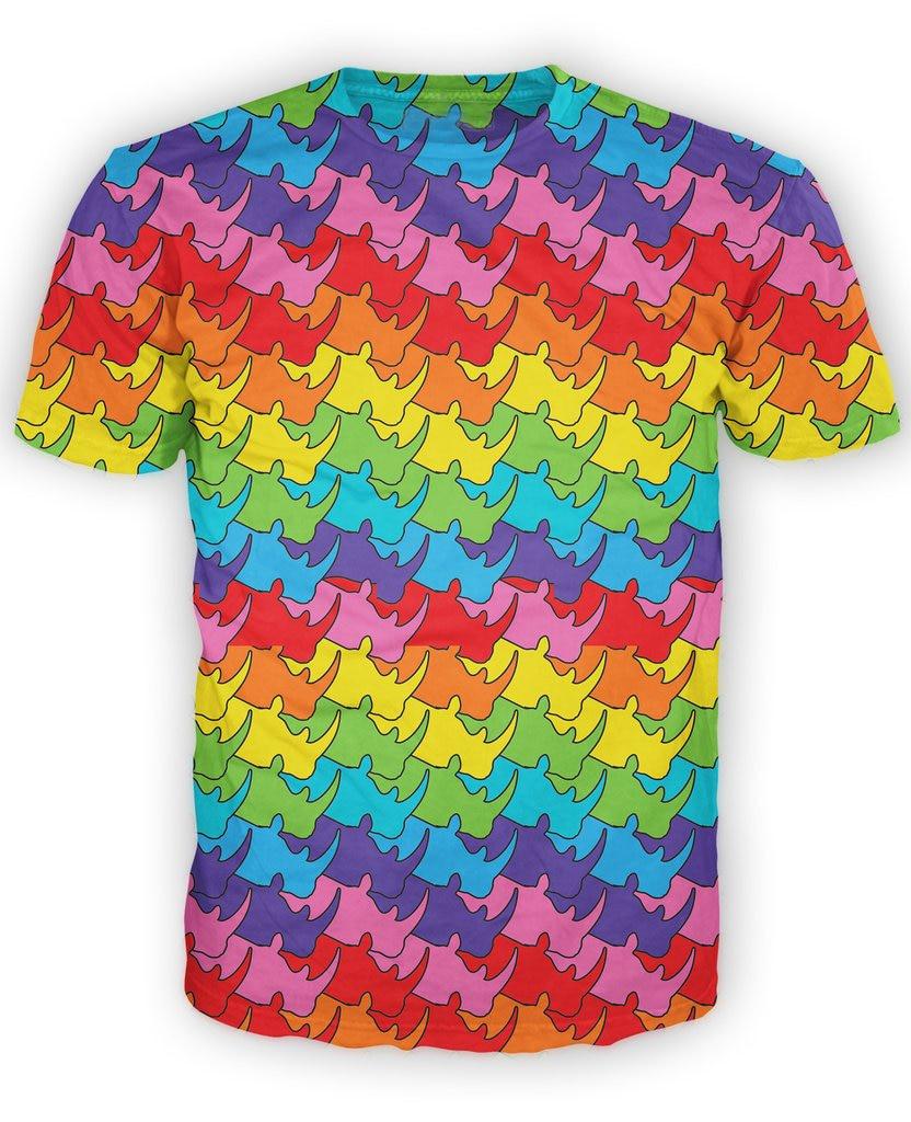 Rainbow Rhinos T-Shirt colorful 3d all-over print tshirt funny design summer t shirt men tops tees vibrant t-shirt for women