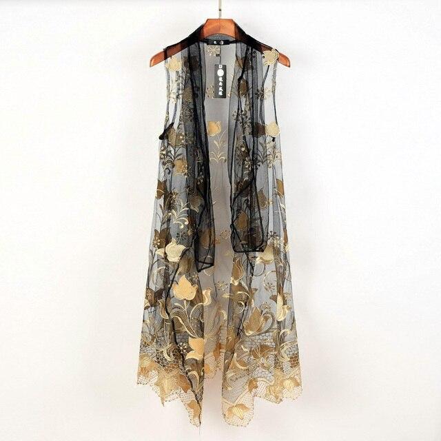 8965d0dafdb39a Korean Avant-garde Dark Edge Mens Embroidering Mod Casual Cape Wrap Shawl  Coat Tops Waistcoat LONG SLEEVELESS CARDIGAN Vest