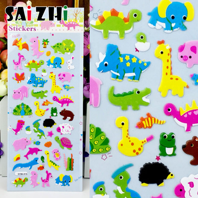 1pcs/lot 3D Puffy Bubble Dinosaurs Stickers Cartoon Foam Giraffe Animal Sticker For Kids Cute DIY Scrapbook Refrigerator Sticker