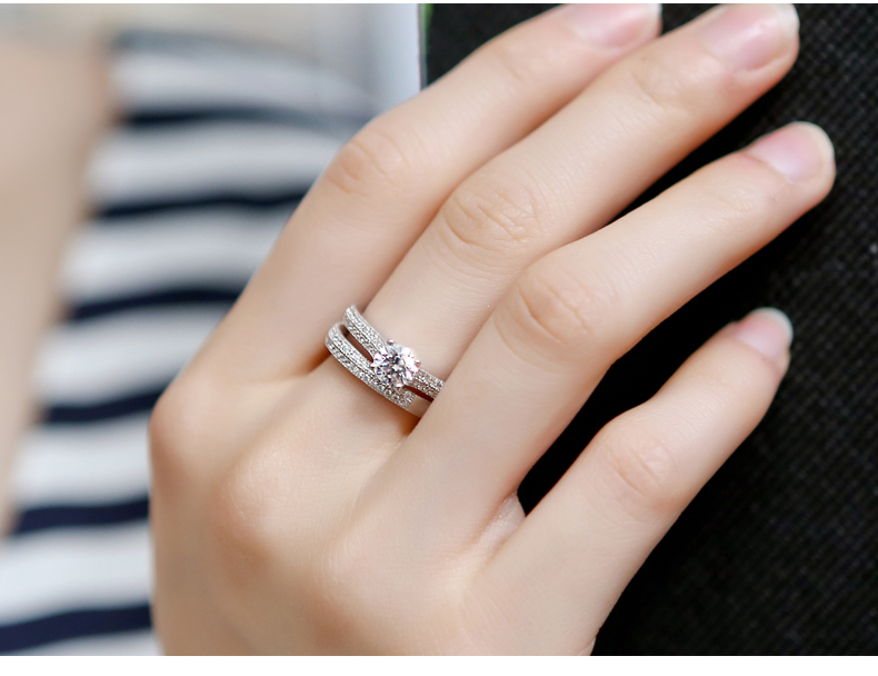 Bamos Luxury Female White Bridal Wedding Ring Set Fashion 925 Silver Filled Jewelry Promise CZ Stone Engagement Rings For Women 10