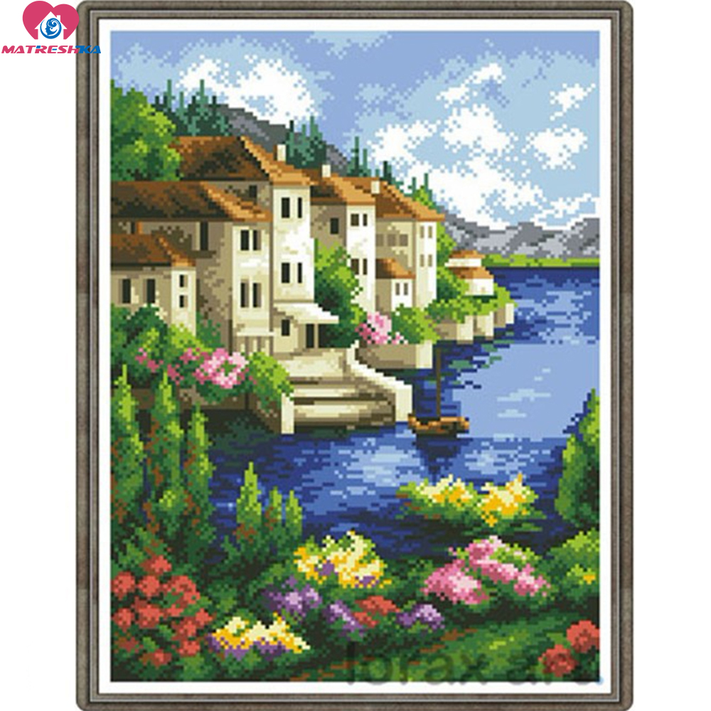 29cm x 38cm full beads embroidery house landscape color beadwork home decor crafts needlework craft home decoration New 2015-in Embroidery from Home & Garden    1
