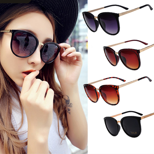 1e35368eff7 Fashion Round Oversized Cat Eye Sunglasses Women Metal Vintage Gold Frames  New 2016 Sunglasses Uv400 Sun Glasses Wholesale Alloy