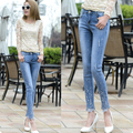 fashion sexy capris jeans diamond mid waist lace pants all match nine skinny jeans woman