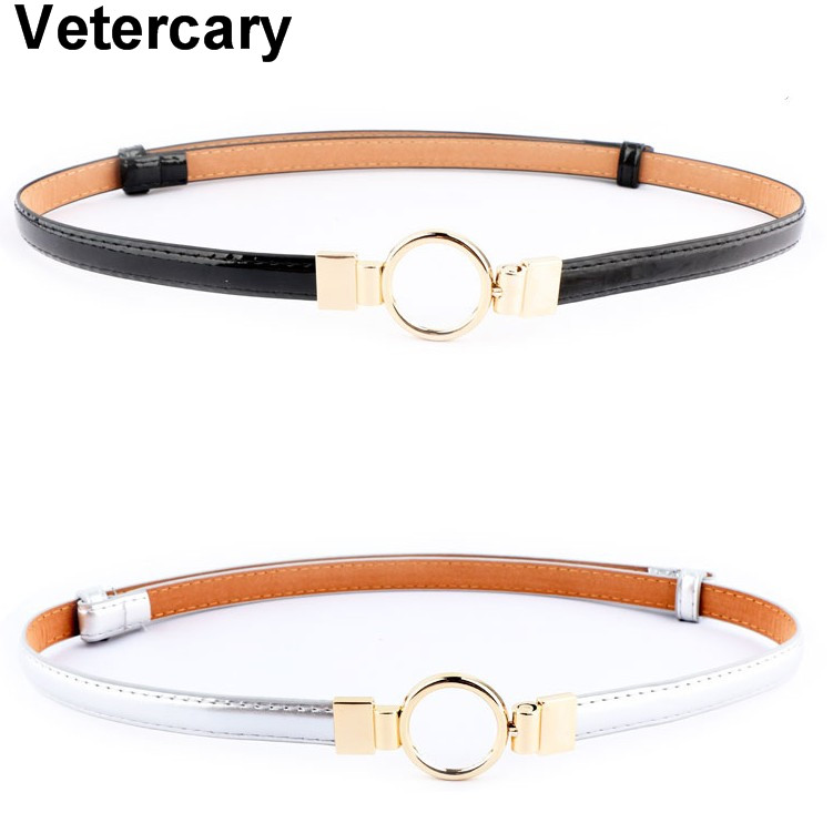 New Design Thin Belts Silver PU Patent Leather Dress Women Adjustable Waistbands Gold Circle Metal Buckle Alloy Adjust Waistband