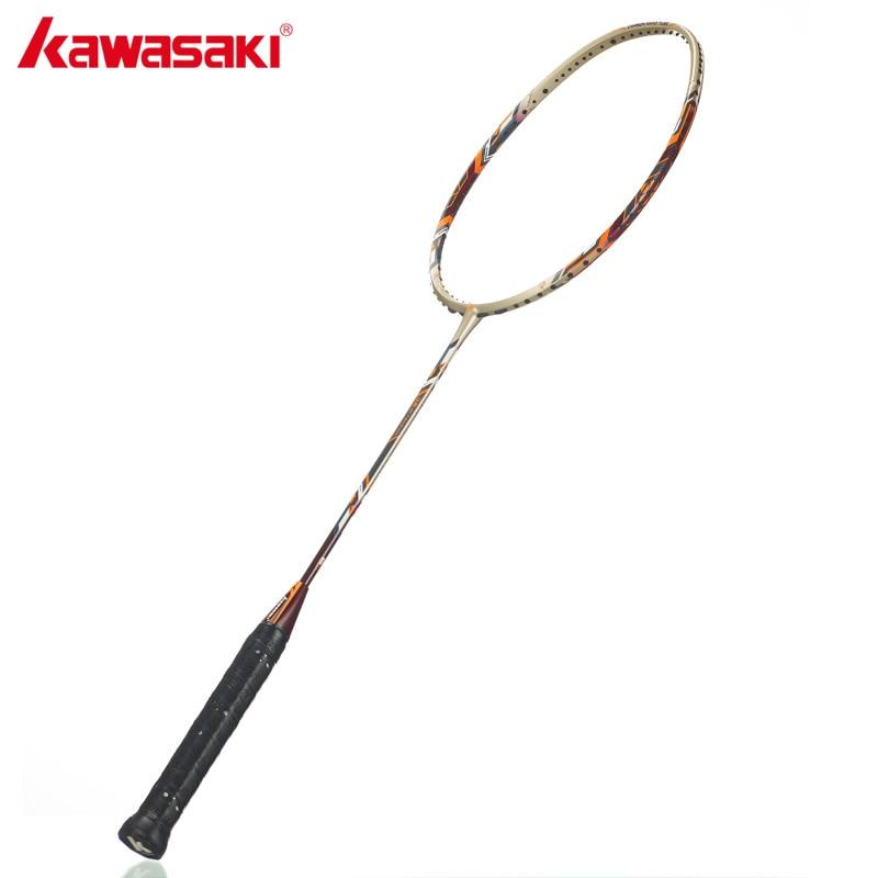Kawasaki 34 LBS High Tension Badminton Rackets 3U Professional Carbon Badminton Racquet Offensive Type kawasaki original badminton racket offensive type 18 30lbs graphite fiber badminton racquet for junior players firefox 570 sd