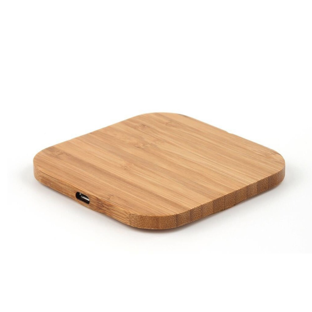 Portable Qi Wireless Charger Charging Slim Wood Pad For Apple