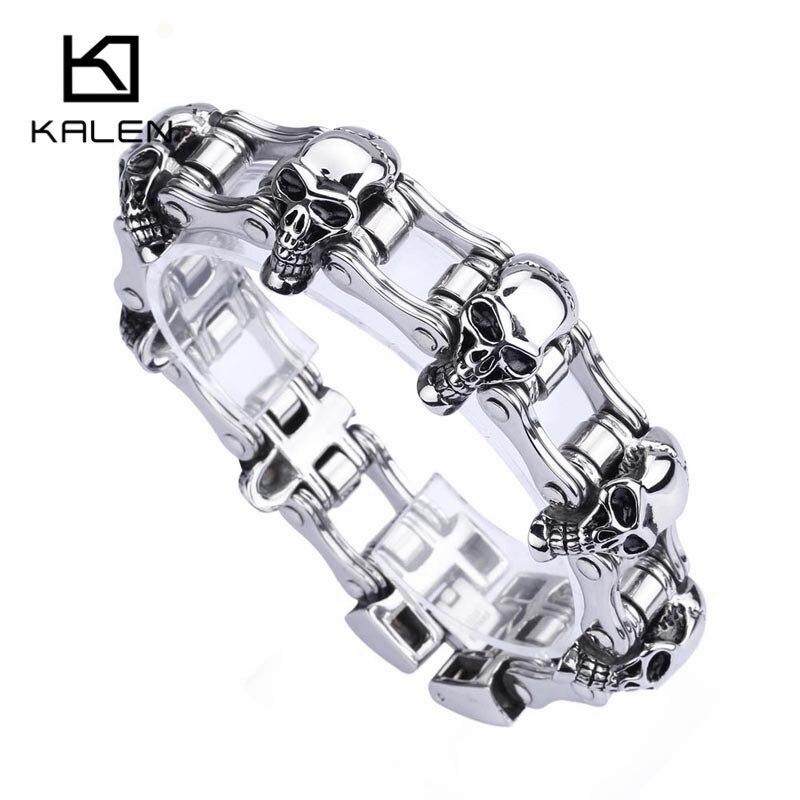Kalen Punk Skull Bracelets For Men Stainless Steel 7 Skull Charms Link Chain Bracelet Biker Hip Hop Bike Chain Wrap Bangle Gift fashionable skull and dagger shape embellished trouser chain for men