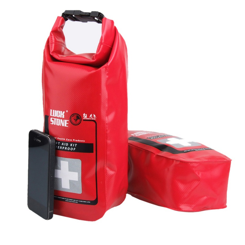 Survival Red Waterproof 2L First Aid Bag Emergency Kits Empty Travel Dry Bag Rafting Camping Kayaking Portable Medical Bag red 2l portable outdoor waterproof first aid bag medical life saving bag camping travel disaster relief first aid kit