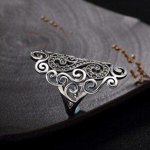 Image 3 - V. ya retro 925 prata esterlina anéis ajustáveis para mulher letra s femme feminino anel marcasite jóias