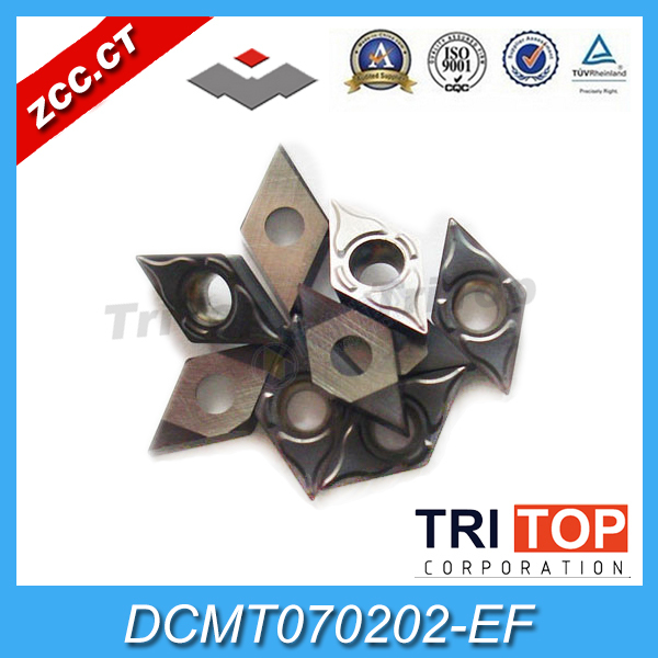 free shipping 10 inserts Lot ZCC CT Cemented Carbide Cutting Tool DCMT070202 EF YBG202 Turning Inserts