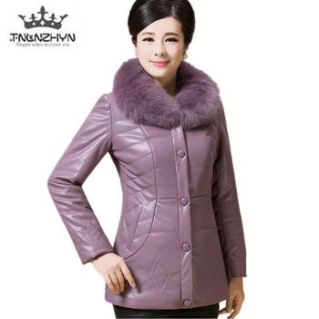 2019 Winter Elderly Women Leather Cotton Coat Plus size Fur collar Warm Down Jacket High-end Thick Solid color Casual Coat parka