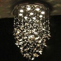 New Modern K9 Crystal Pendant Lights Chrome Butterfly Home Decoration Bedroom Caboche Living Room Light Fixture 110 240V D500mm