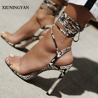 XIUNINGYAN Women Sandals Thin High Heel Lace Up Transparent Shoes Snakeskin Ankle Strap Summer 2019 Sandals Sandalias Femininian