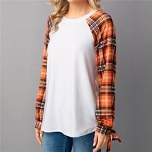 купить cute women t-shirts tee top womens fashion plaid bow o-neck   classic  popular female tshirt t tops fashion tee shirt по цене 446.15 рублей