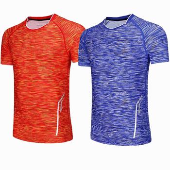 Mężczyźni na zewnątrz sportowe do biegania Fitness poranny bieg tenis oddychające Badminton mężczyzna T-shirt Walking Jogging topy koszulki sportowe koszulki tanie i dobre opinie NoEnName_Null Poliester Krótki Anty-pilling Anti-shrink Przeciwzmarszczkowy Sprężone Szybkie suche Wiatroszczelna Denim