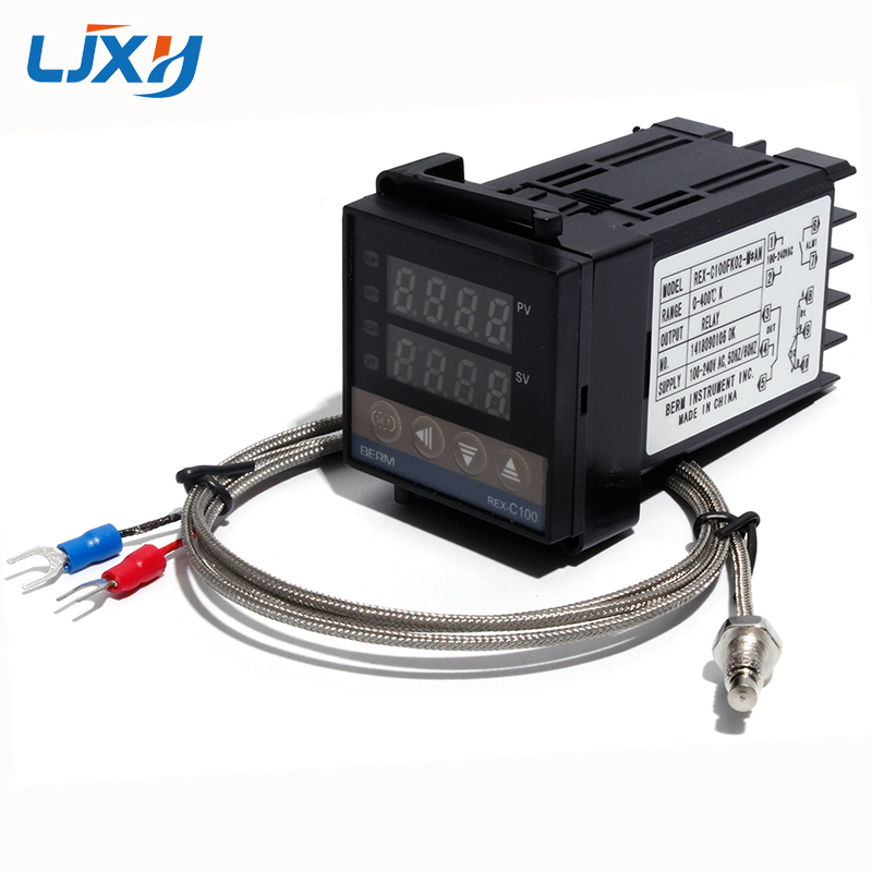 LJXH Relay Output REX-C100 PID Thermostat Temperature Controller 100-240VAC With 1m M6 Thread Type K Thermocouple