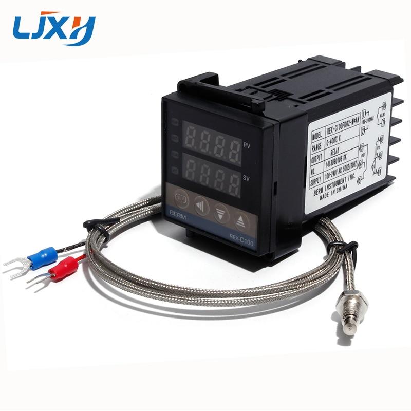 Relé de salida LJXH REX-C100 controlador de temperatura del termostato PID 100-240VAC con 1m M6 rosca tipo K termopar