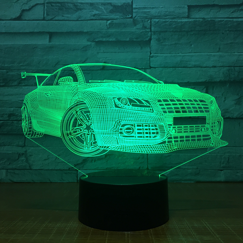 Sports Racing Car 3D USB LED Night Light 7 Colors Illusion Lamp Touch Or Remote Control Kids Bedroom Lamp Worldwide Drop Ship