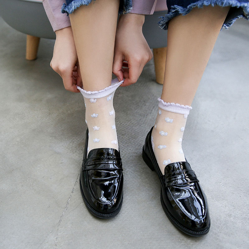 [WPLOIKJD]Japan Harajuku Transparent Socks Art Socks Embroidery Lace Flowers Glass Women Thin Cute Calcetines Mujer