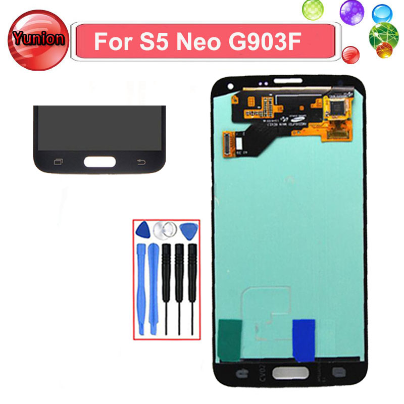 Silver/Black/Gold Super AMOLED LCD Display Touch Screen Full Assembly For Samsung GALAXY S5 Neo G903 G903F