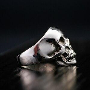 Image 3 - אמיתי סטרלינג 925 כסף גולגולת טבעות לגברים שתלטן שן בציר פאנק רוק גותי Bague Argent אופנה אנל Masculino