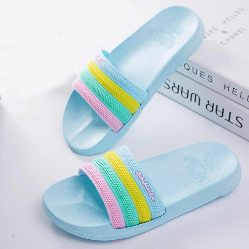 357406fbf ... Fashion 2018 Summer Women Lovely Rainbow Beach Slippers Platform Thick  Soled Sandals Women Shoes Flip Flops ...