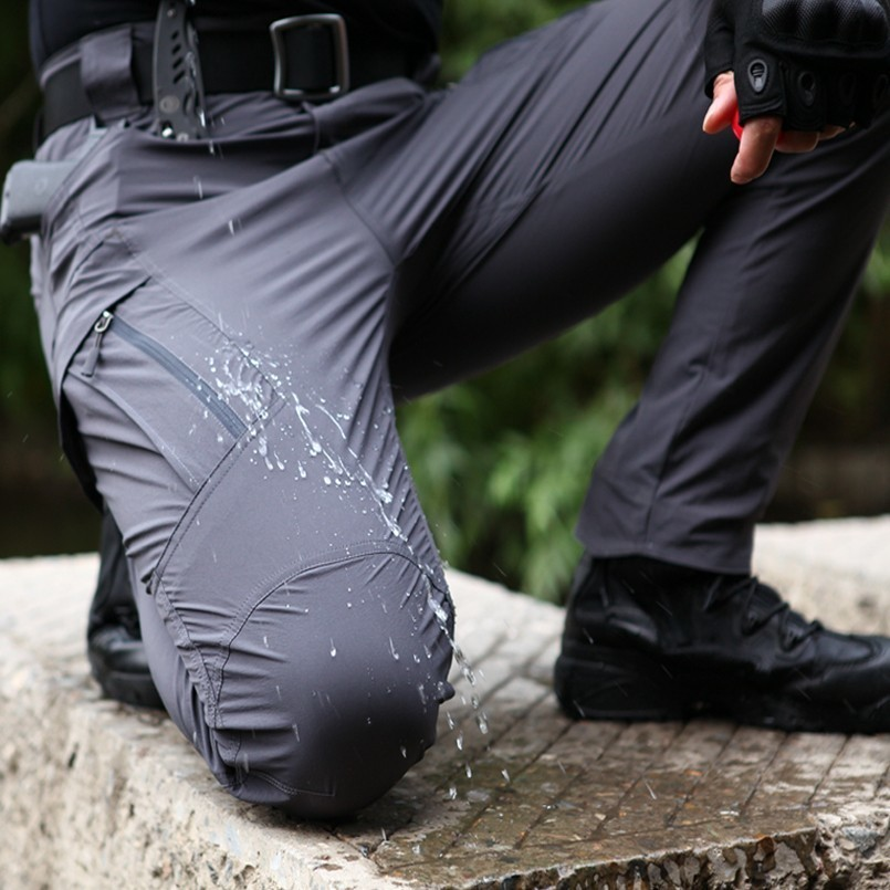 IX9 Waterproof Stretch Pants Man Military Tactical Rip-Stop Quick Dry Trousers Light Weight Army Combat Multi Pockets Cargo Pant