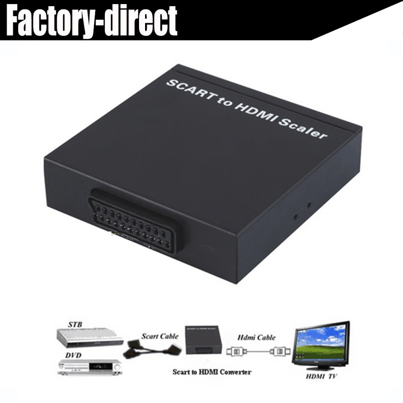 eu scart to hdmi converter scaler cable adapter scart in hdmi hdmi out with power adapter up to. Black Bedroom Furniture Sets. Home Design Ideas