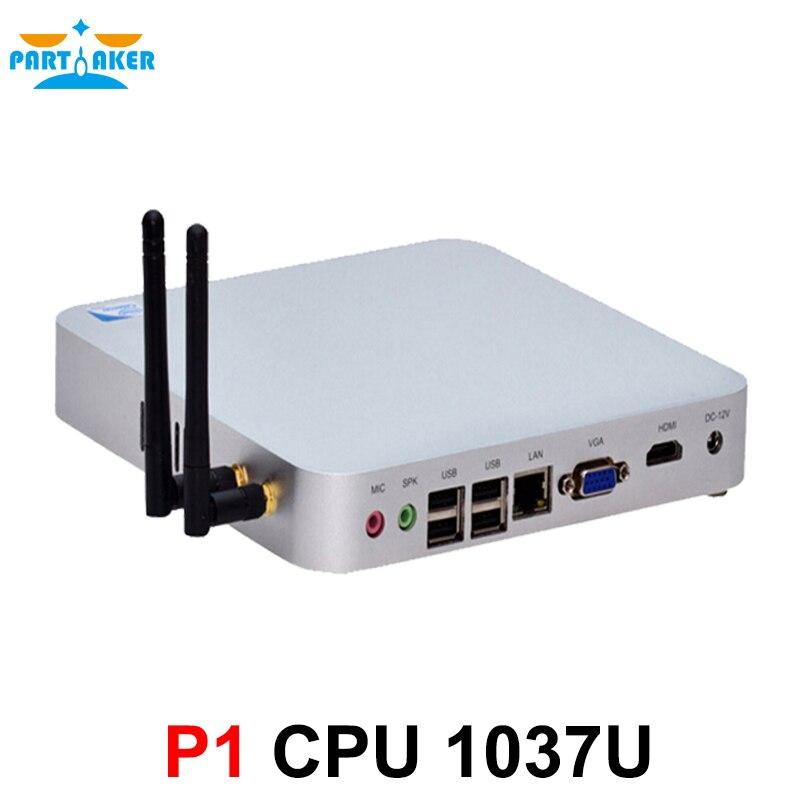 P1 12v mini pc windows 7 Partaker mini pc with 1 NIC port C1037U mini pc with 1 serial port dual display mini pc 1080P RJ45