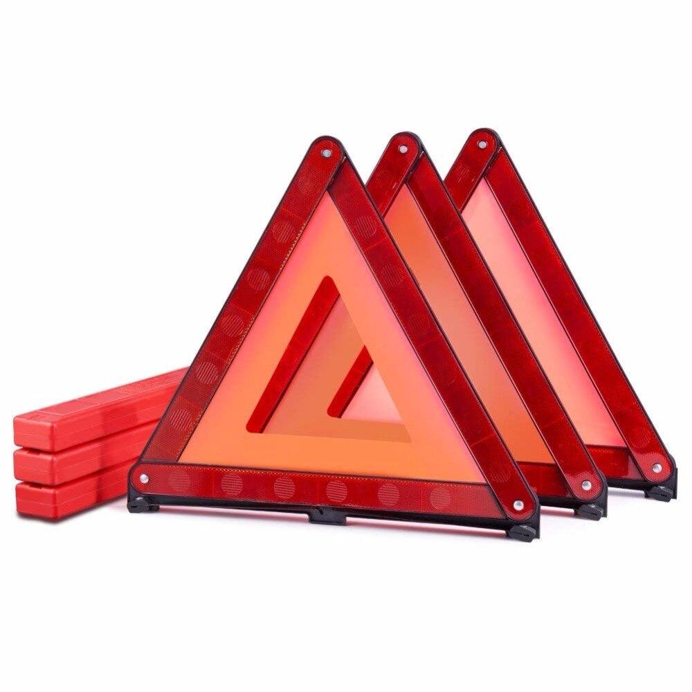 MYSBIKER Emergency Safety Warning Triangle,3 Pack Foldable Triangle Reflector Kit,Car Roadside