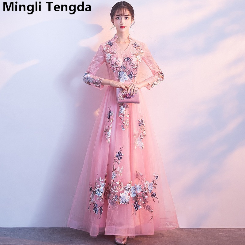2018 New Pink   Bridesmaid     Dresses   Long Lace Flower   Dress   V Neck Appliques Vintage   Dress   for Wedding Party vestido dama de honra
