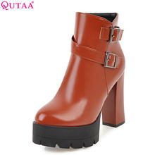 QUTAA 2018 Pu Leder Frauen Stiefeletten Fashion Square High Heel Plattform Zipper Runde Kappe Damen Motorrad Stiefel Größe 34 -43(China)