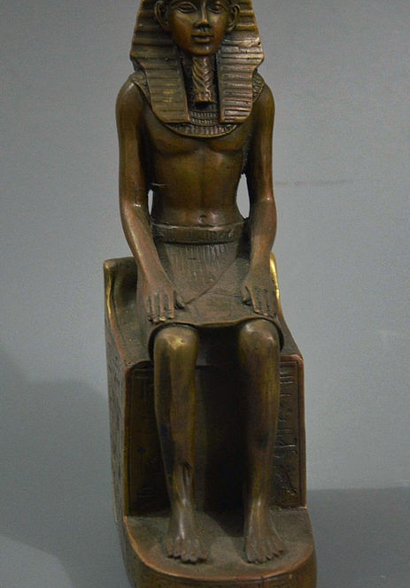 "9"" Old Egypt Bronze Egyptian Pharaoh Monarch King Tutankhamun Statue Sculpture"